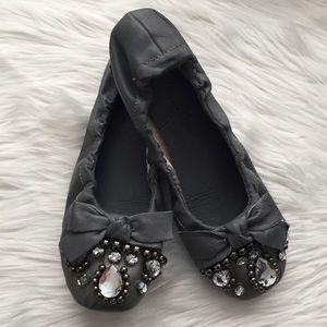 Penny Loves Kenny Gray Beaded Bow Ballet Flats